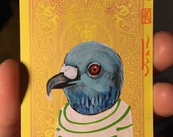 Pigeon portrait on a playing cards. Original acrylic painting. 2014