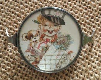 Vintage Handcrafted Delivery Boy with puppy Bracelet Piece