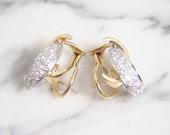 VintageDiamond Swirl Earrings 14K Two Tone Yellow and White Gold