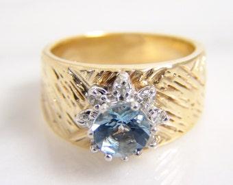 CLEARANCE - Vintage 14k Genuine Aquamarine Diamond Engagement Ring/ Retro Mid Century Wide Engraved Band