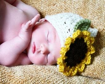 Newborn Sunflower Hat Crochet Baby Hat Photography Prop Cream Pixie Hat Newborn Photography Hat