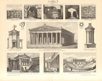 1902 Architecture of the Ancient Greece, Choragic Monument of Lysicrates, Acropolis of Athens, Erechtheion, Greek Theatre Antique Print