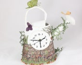 Watering can clock Time to water the garden Clock Secret garden fairy garden with Butterfly tulips robin free standing clock mantle clock