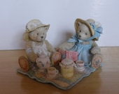 Vintage Figurine - Cherished Teddies - Freda & Tina - Our Friendship is a Perfect Blend - 1992 - Teddy Bear Figurine