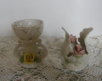 Vintage Italian Pottery - Two Hand Crafted Pieces, White Ceramic with Roses, Cottage Chic Ornaments, Home Decor