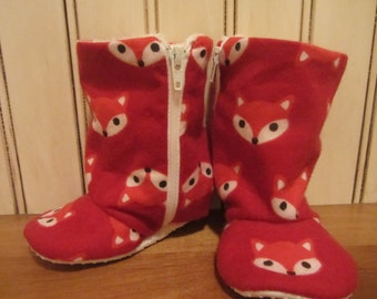 SALE ** Little red fox baby boots- infant to toddler- non slip sole - flexible shoes