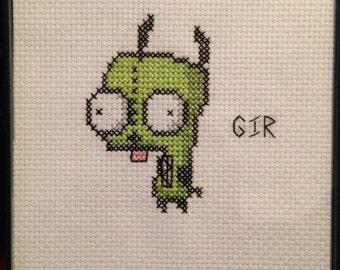 GIR - Invader Zim framed cross stitch