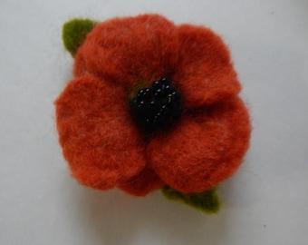 Orange flower needle felted brooch