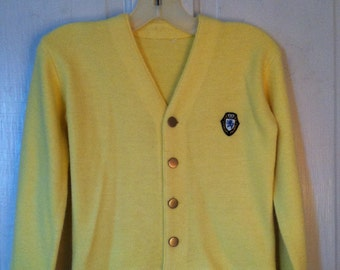 Cardigan Yellow Button Front Boy Girl Preppy Size 10/12 Childrens Youth