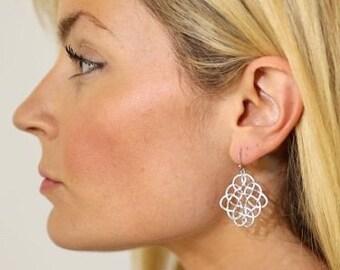 Matte Silver Filigree Earrings Scroll Earrings Celtic Earrings Silver Earrings Lacy Earrings Work Earrings Casual Jewelry Casual Earrings