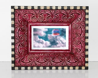 "hand painted frame,11x9"",framed art, wall or table top, sepia, checkerboard,magenta, pink, black and white,"