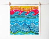 Ocean Print - Surf Decor - Ocean Art - Colorful Wall Art - Beach Artwork - Surf Art Print - Coastal Wall Art - Beach Decor - Abstract Wave