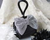 Black Satin Fabric Wedding Bag Clutch Formal Evening Bag Rinestone Fabric Bow and Wrist strap