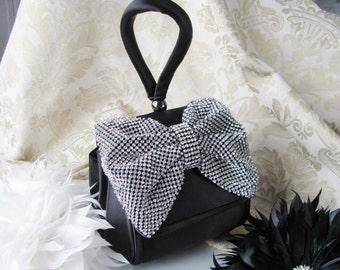 Prom Time Black Satin Fabric Wedding Bag Clutch Formal Evening Bag Rinestone Fabric Bow and Wrist strap