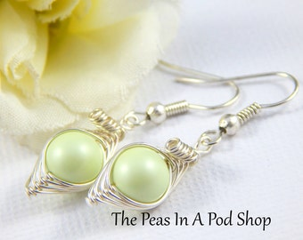 Peas In A Pod  Earrings One Pea In A Pod Silver Earrings Pastel Green