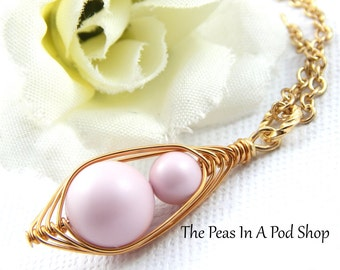 Two Peas In A Pod Mother And Daughter Or Big Sister And Little Sister Gold Necklace