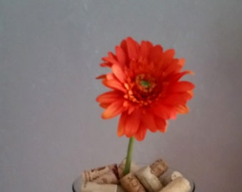 Silk Floral supply beautiful Orange Gerbera daisy stems set of 3 DIY Bride Wedding supplies accessories craft bouquet make your own corsages