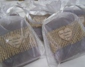 bridal shower favors, lavender soaps, with sheer bags, medium size 3 oz. bars.