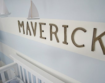 "8"" Rope Letters Personalize Nursery Decor Nautical Rope Letters 8 Inch Letters Baby Name Art For Baby"