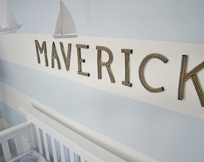 """8"""" Rope Letters Personalize Nursery Decor Nautical Rope Letters 8 Inch Letters Baby Name Art For Baby"""