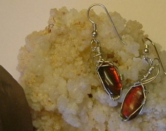 Bright Red to Orange Fire Gem Ammolite as Pebble Jewelry from Utah Deposit in Argentium Sterling Silver Wire Wrapped Post Earrings 298