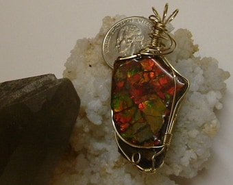 Bright Red, Green and Yellow Fire Ammolite from Utah Deposit Gold Filled Wire Wrap Pendant  317