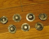 7 Silver Tone Metal Buttons, Tribal Belly Dance