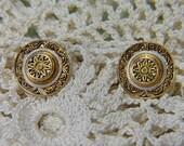 Vintage Damascene Earrings - V-EAR-663 - Gold Damascene Earrings - Gold Earrings - Round Earrings - Hat Earrings