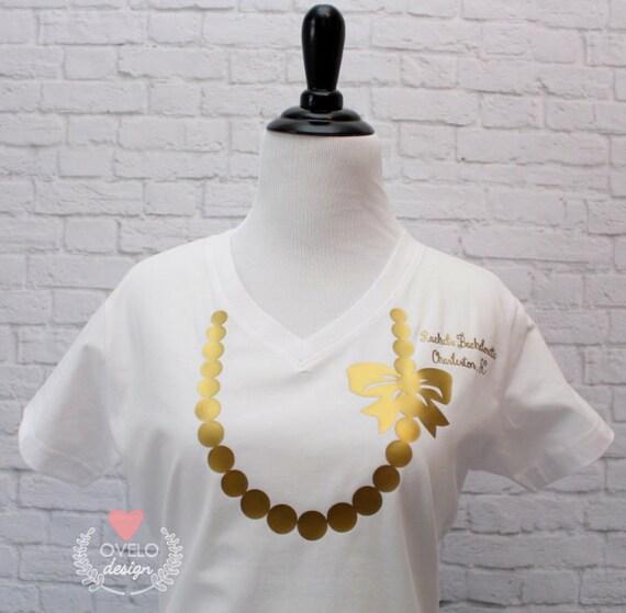 Bride V-Neck T-shirt White Printed in Gold Metallic