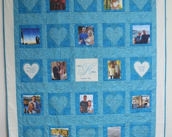 Wedding Quilt: Photo Quilt Customized and Personalized for the newlyweds with embroidery and 12 Pictures