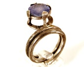 Silver jewelry-Tanzanite-Silver sterling  ring - Adjustable-One of a kind-Statement-Cocktail ring