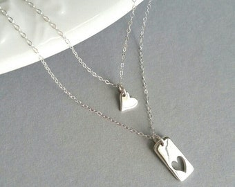 Mother Daughter Heart Necklace, Sterling Silver Rectangular Heart Cutout Necklace, Gold Rectangular Heart Cutout Necklace