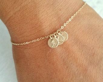 Tiny Gold Initial Bracelet, Personalized Bracelet, Tiny Gold filled Initial Bracelet, Mother's Bracelet, Family Bracelet, gift