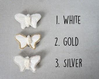 Little Butterfly Feather Hair Clip - White Butterfly Hair Clip - White Moth Hair Clip - Beaded Butterfly Hair Clip - Textile Art Moths - Pin