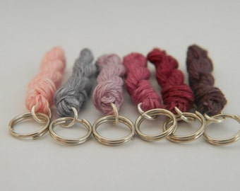 6 Knitting stitch markers - mini skein linen yarn key chains