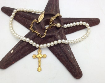 Pearl Necklace with Cross Necklace Vintage Assemblage Necklace