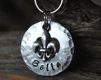 Pet ID Tag/Tags / Dog Tag / Dog Collar Tag / Personalized / Pet Charm / Keychain / Unique Hand Stamped / Fleur de Lis