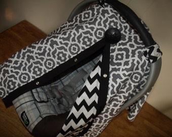 Car seat Canopy Grey Black Geo Chevron REVERSIBLE