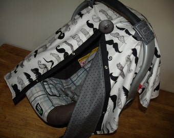 Carseat Canopy Mustache Grey Black dot REVERSIBLE