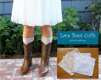 Beautiful White or Ivory Floral Embroidered Lace..... Peek A Boots...Lace Boot Cuffs...Boot Toppers...Socks...New...