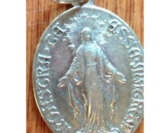 "Children of Holy Mary Vintage Silver Religious Medal Pendant on 18"" sterling silver rolo chain"