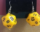 Gamer Dice Earrings - Hypoallergenic - Surgical Steel - Yellow and Black d20