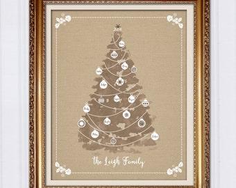 Personalized Christmas Gift, Burlap Christmas Tree, Custom Art Print for Mom, Gift for Grandma, Gift For Grandparents, Printable Gift