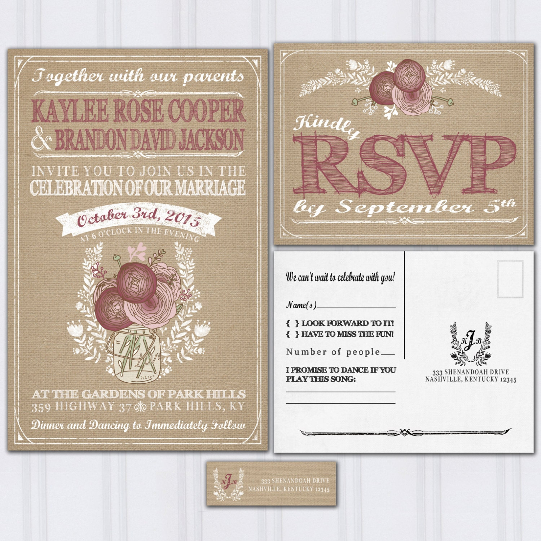 burgundy invitation burgundy wedding invitations Burlap and Mason Jar Wedding Invitations Burgundy and Blush Pink Roses Invitation Set Cheap Wedding Invitations