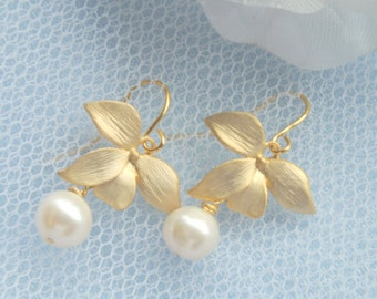 Jessica - Freshwater Pearl and Matte Gold Orchid Earrings