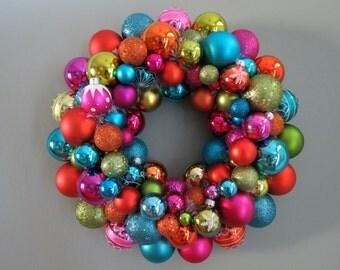 "CHRISTMAS wreath-COLORFUL FESTIVE 16""  Ornament Wreath 10-14"