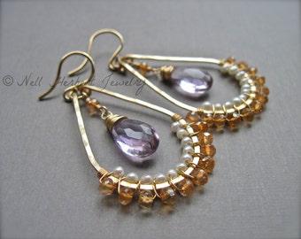 Gold Hoop Earrings with Pink Amethyst, Champagne Quartz and Pearl, Handmade Teardrop Hoop Gemstone Earrings