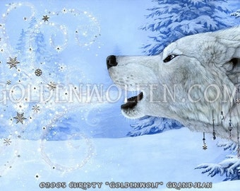 Winter Wolf Howling Snow Print