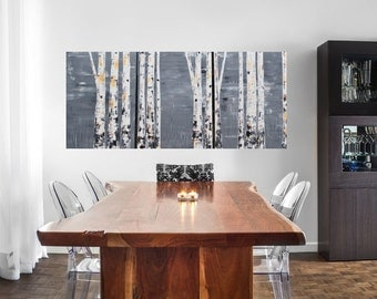MADE TO ORDER: Metallic Woodland Nature Cabin Decor Aspens Birch Multi Panel by MyImaginationIsYours