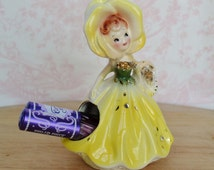 Vintage Yellow Flower Girl Cotton Ball or Lipstick Holder by Enesco